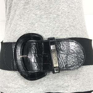 Guess Black Faux Animal Leather and Stretch Belt